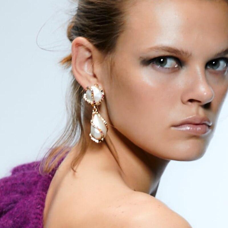 Los mejores pendientes colgantes de perlas simuladas ZA para mujer, pendientes de boda bohemios bonitos para niñas, regalos de Navidad hechos a mano, llamativo joyería para fiesta