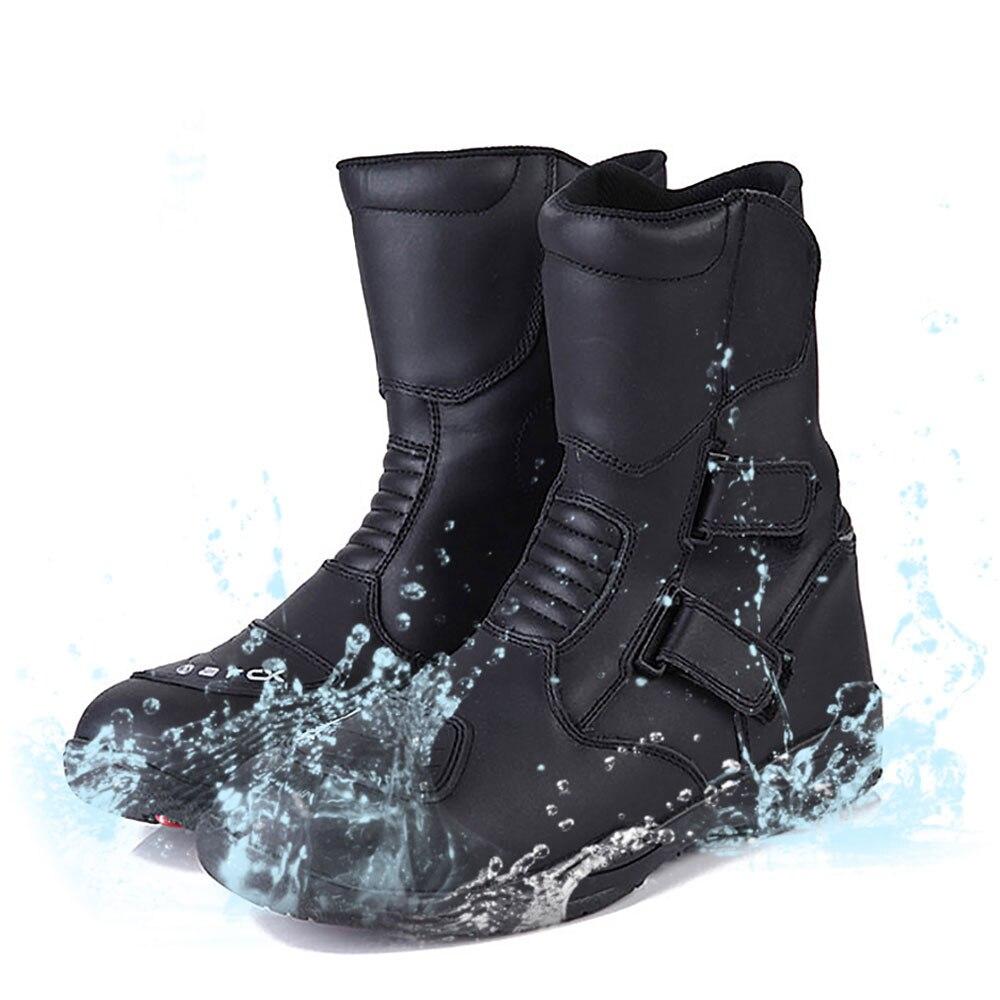 دراجة نارية أحذية الرجال الجلود موتو أحذية مقاوم للماء موتوكروس أحذية سباق الدراجات النارية منتصف العجل أحذية سوداء دراجة نارية حذاء
