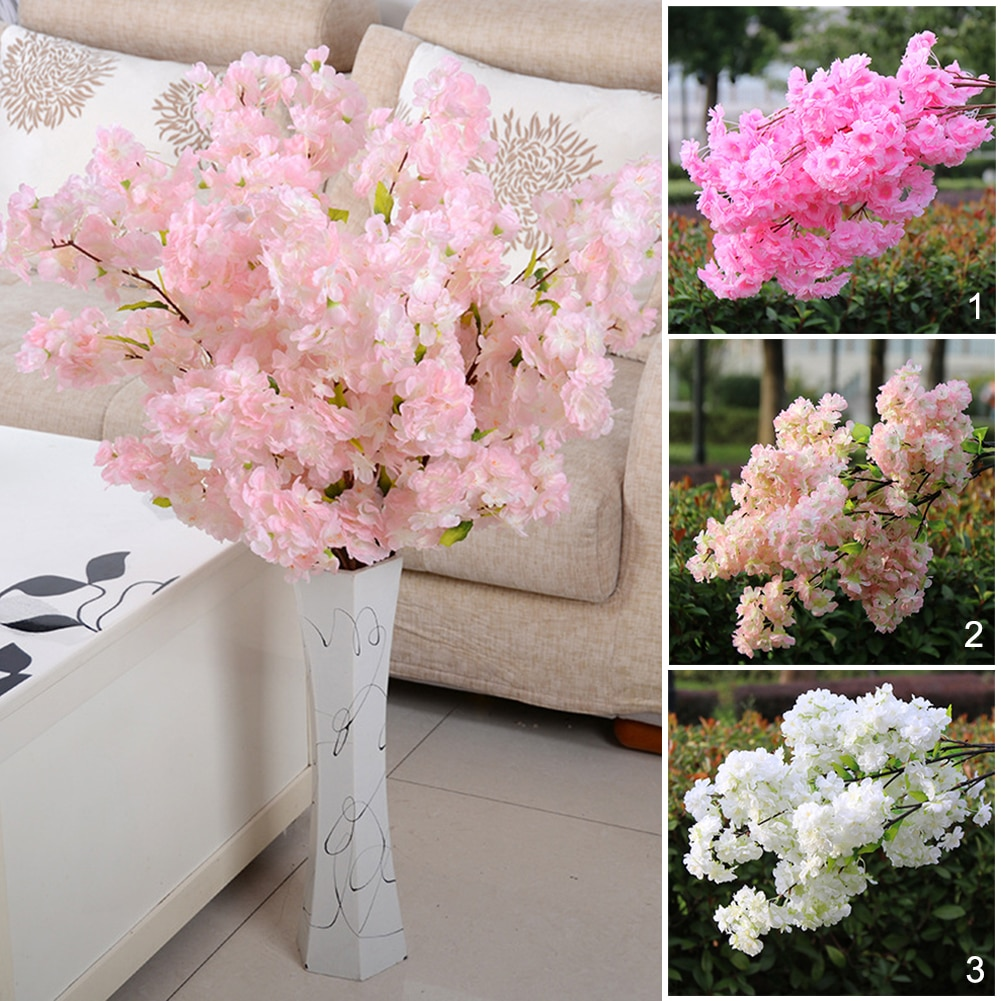 1Pc Nep Kersenbloesem Bloem Tak Begonia Sakura Boom Stem Voor Event Bruiloft Boom Deco Kunstmatige Decoratieve Bloemen