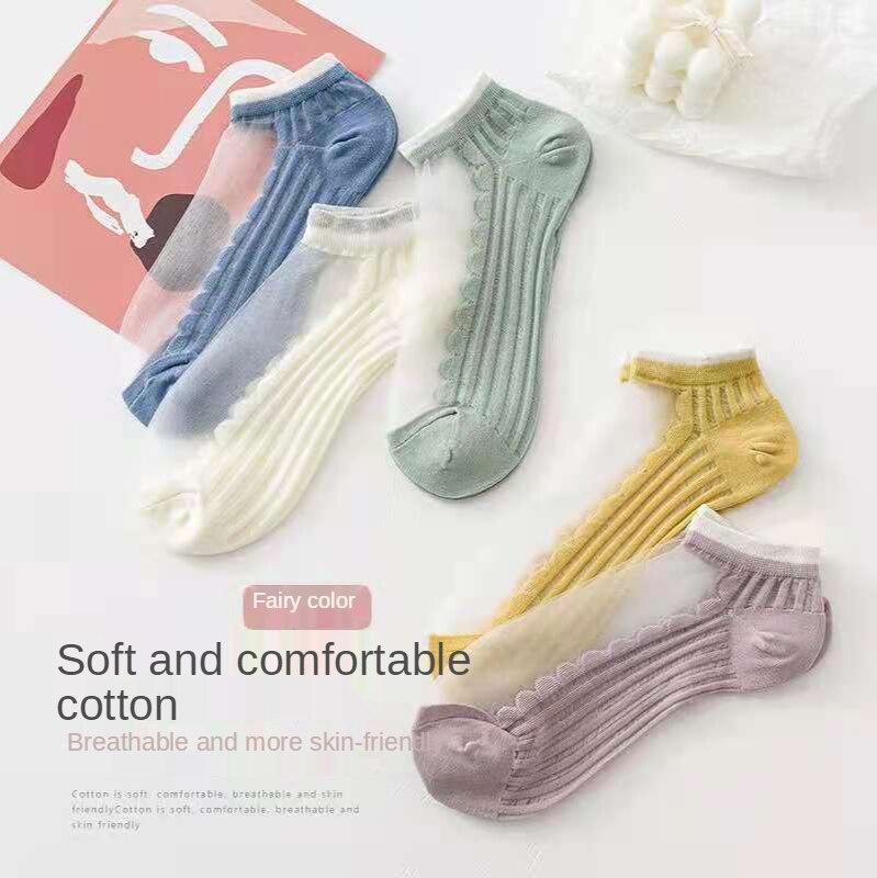 Наборами по 2 пары в наборе, женские жаккардовые носки до лодыжки водные растения, толстые короткие носки женские дешевые сандалии для женщи...