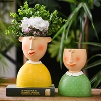 resin cartoon stupid face boy vase decoration nordic quality family ornaments art crafts sculpture indoor outdoor flowerpot new