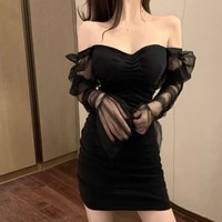 sexy mesh flared sleeve dress ladies low neck open back patchwork black mini dress nightclub spring and autumn 2020
