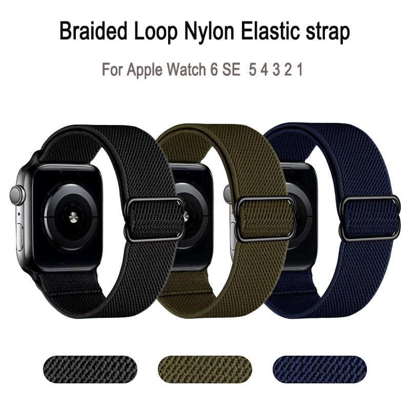 1 1 offical strap for apple watch series 6 5 se 4 braided solo loop 40mm 44mm woven watchbands for iwatch 3 2 1 38mm 42mm strap Braided Loop Strap For Apple Watch Band 4 5 SE 6 44mm 40mm Fabric Nylon Elastic Bracelet iWatch Series 1 2 3 38mm 42mm Strap