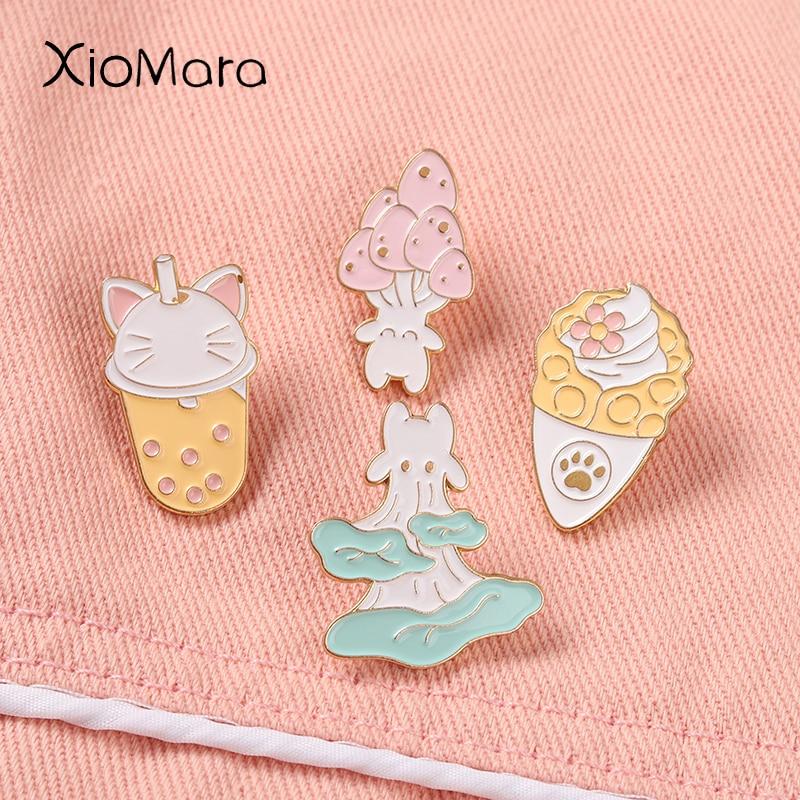 Mushroom Enamel Pin Bubble Tea Lapel Pins Ice cream Food Plant Cartoon Metal Brooches Collar Backpac