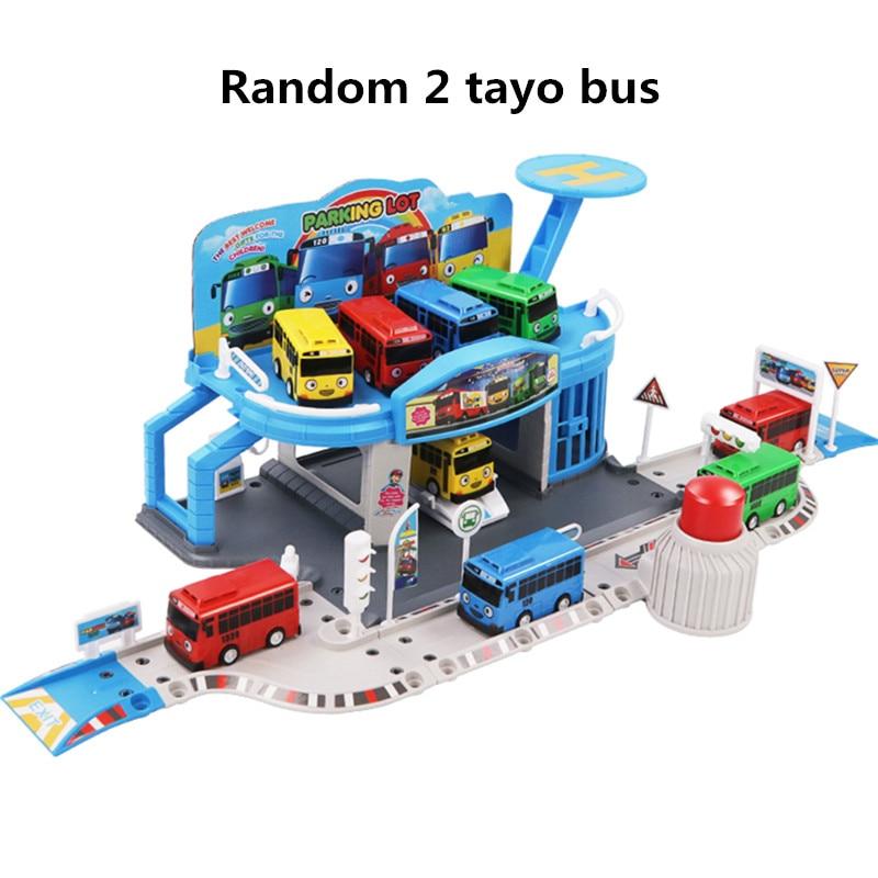 مجموعة الرسوم المتحركة الكورية Tayo the little bus مجموعة محطة الحافلات وقوف السيارات نموذج المدرج مع 2 حافلة صغيرة tayo