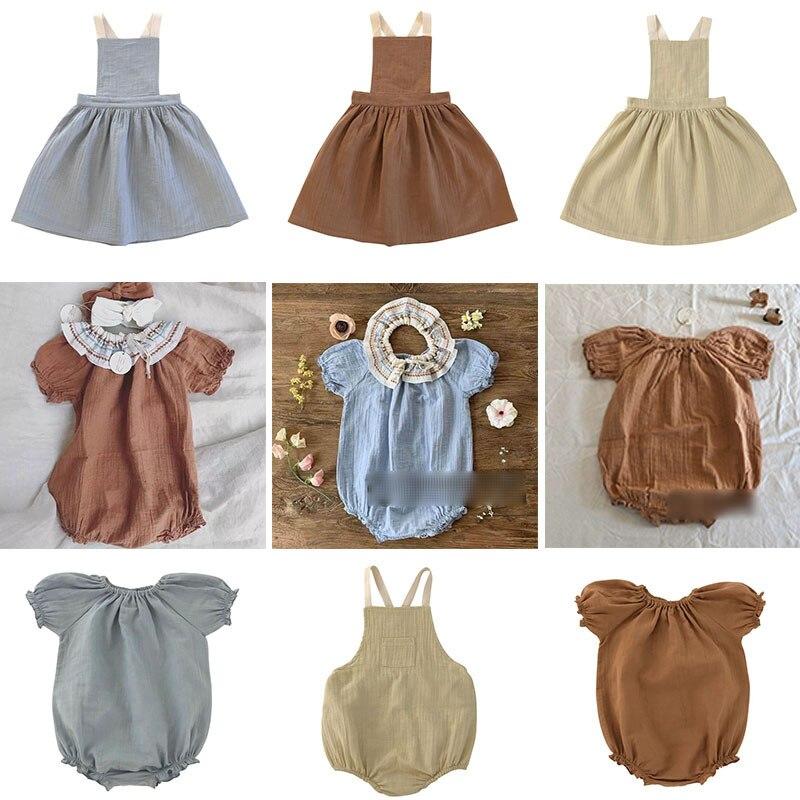EnkeliBB-robe en bretelles en coton pour petites filles, robe dété Liilu, vêtements assortis, barboteuse pour enfants filles, bonne qualité, été 2020
