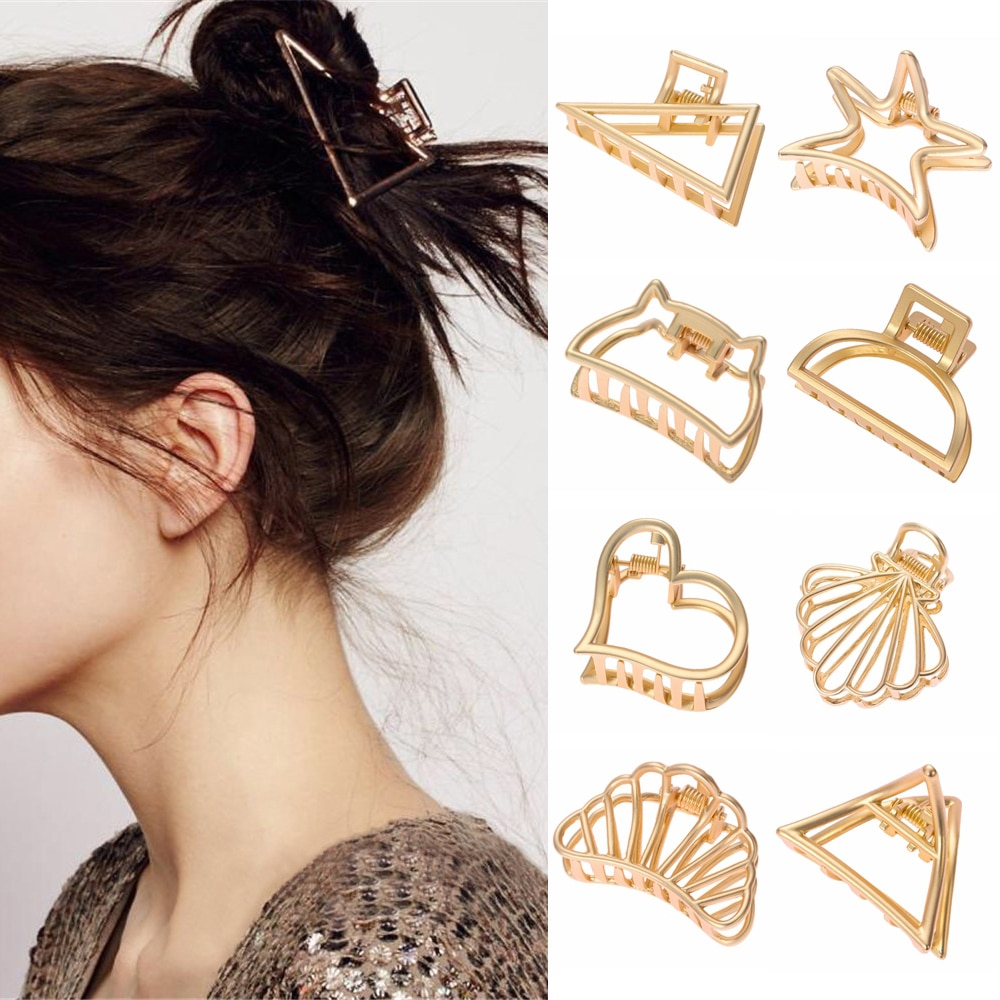 11Styles Geometric Hair Claw For Women Girls Clamps Crab Metal Gold Clip Accessories Hairpins Ornament 2019