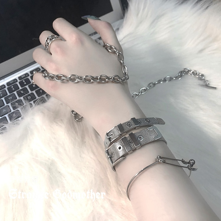 Strange Godmother Dark Wrist Strap Female Accessories Bangle Bracelet Ins Cold Style Special-Interes