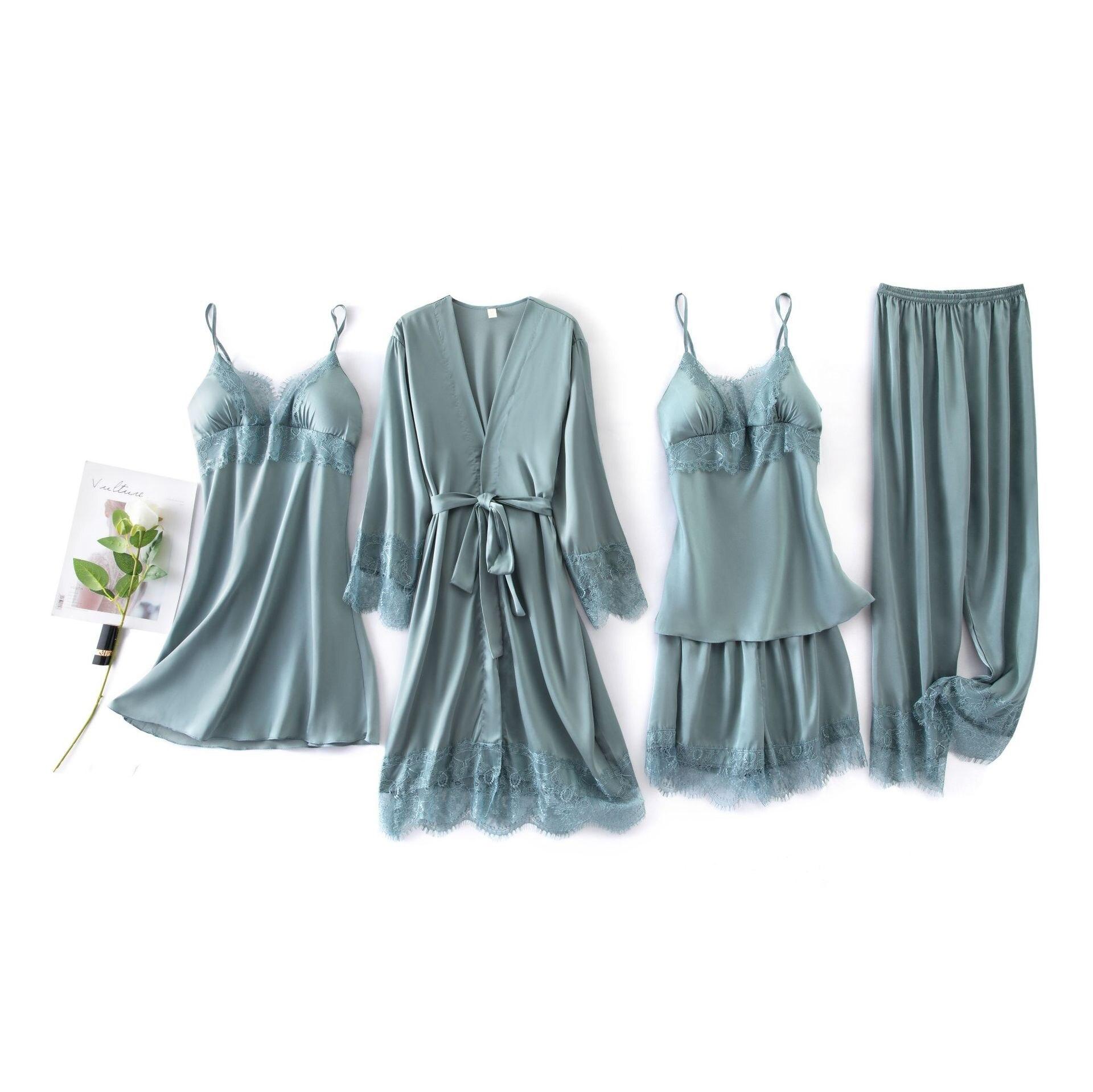 Conjunto de 5 piezas de pijamas elegantes de seda para mujer, conjunto de pantalones cortos de manga corta con cintura elástica, conjunto de ropa de dormir con pecho