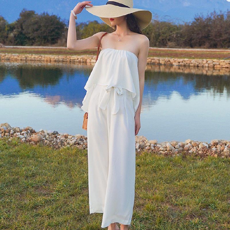 2021 New Summer White Women Jumpsuit Elegant Tropical Wide Leg Strapless Rompers Casual Beach Vacation Korean