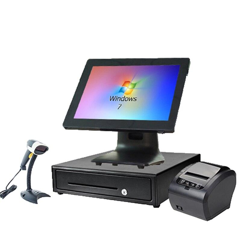 Wholeset PC ملحمة تسجيل النقدية pos محطة التجاري التجزئة استلام النقدية درج ماسح الباركود POS الأجهزة