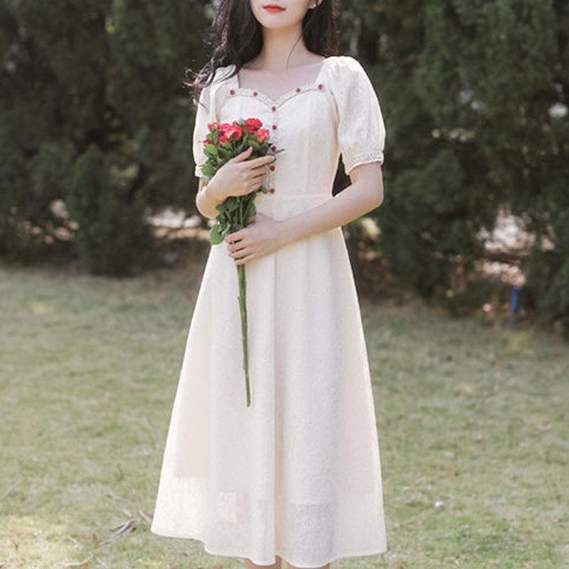 French Vintage Dress Female Evening Party 2021 Summer Korean Short Sleeve Elegant Dress Women Casual Sweet Fairy One Piece Dress