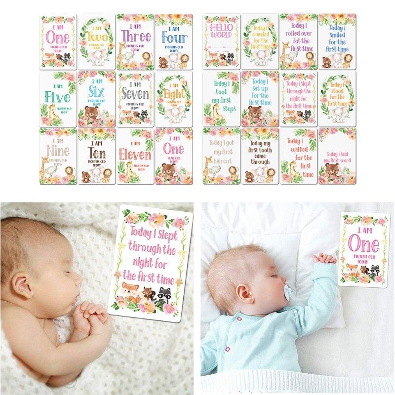 12 листов, карты для фотографий, подарочный набор, Детские карты для возраста, карты для младенцев, Детские фото-карты для новорожденных C5AF