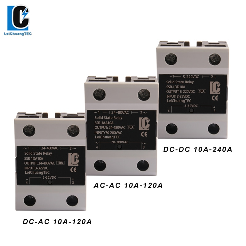 SSR  DC TO AC  Single Phase Solid State Relay 10A 25A 40A 60A 80A 100A 120A 200DD 240DD DC-DC недорого