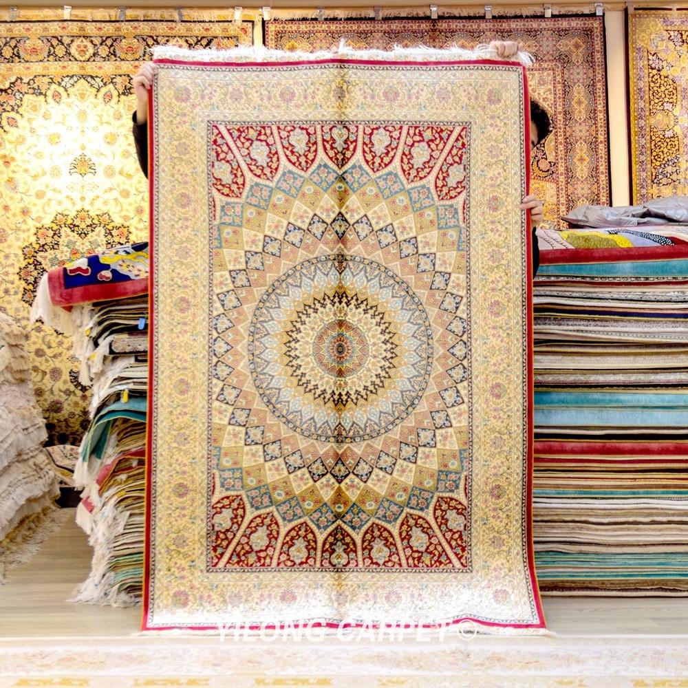 Yilong-سجادة حرير حمراء مقاس 4 × 6 بوصة ، سجادة من الحرير ، فارسي ، صناعة يدوية ، كشمير (ZQG397)