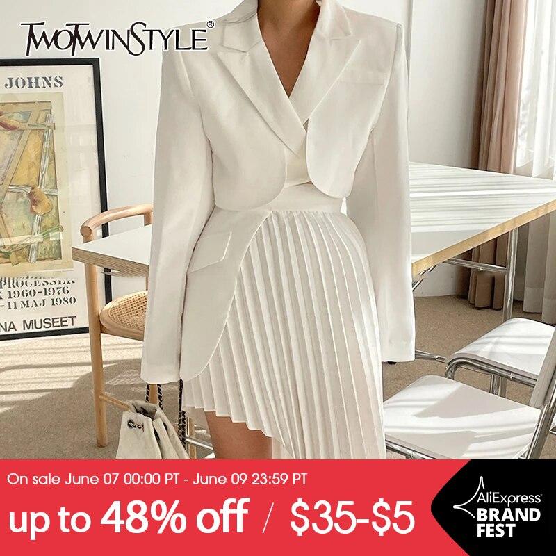 TWOTWINSTYLE Casual White Two Piece Set For Women Notched Long Sleeve Blazer High Waist Irregular Hem Skirt Female Korean Sets