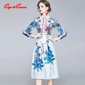 Qiqi&Queen Vintage Elegant Long Dress Women Fashion Bohemian Beach Print Dresses Casual Slim Plus Size Party Evening Vestidos