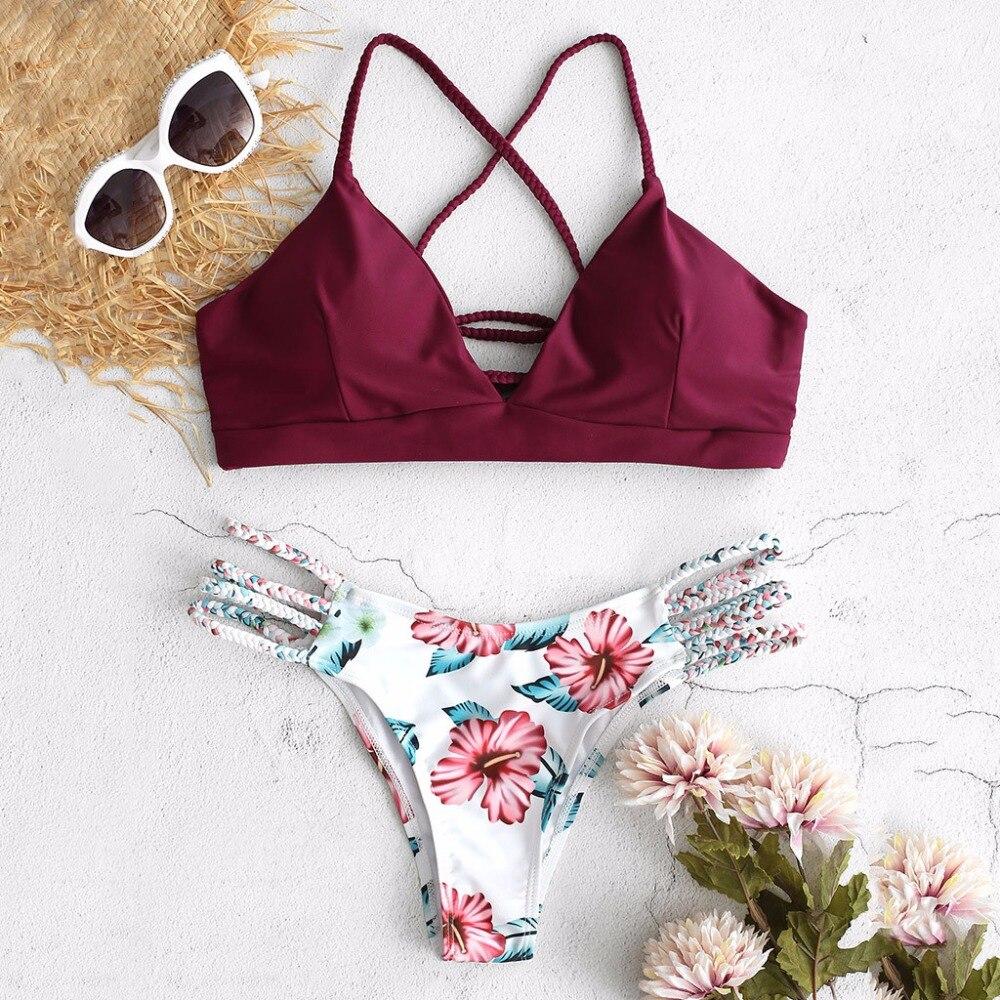 Conjunto De Micro Bikini De verano para mujer, traje De baño con tiras De flores recortadas, Push Up, Sexy, bañador Halter, ropa De playa, Biquini, Maillot De Bain