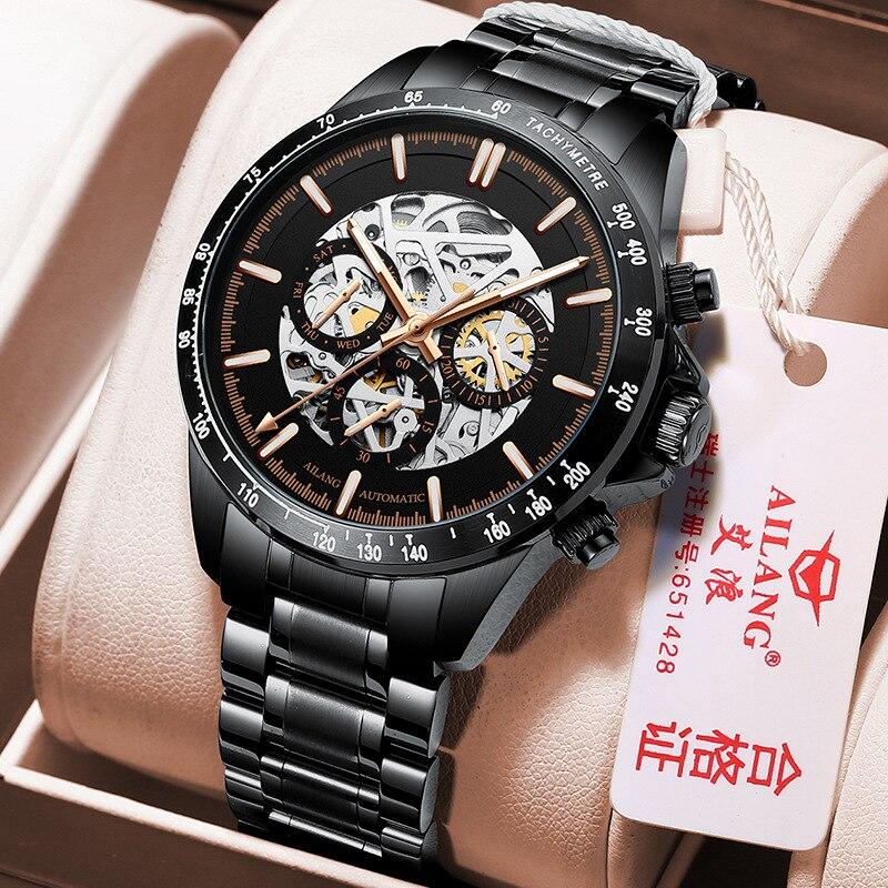 AILANG New Men's Automatic Mechanical Business Waterproof Luminous Calendar Week Pointer Sencond Hand Stainless Watches 8827B