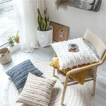 Housse de coussin décorative minimaliste   Housse de couleur unie, en coton et en lin, style Boho, avec des glands à volants carrés, pour la maison