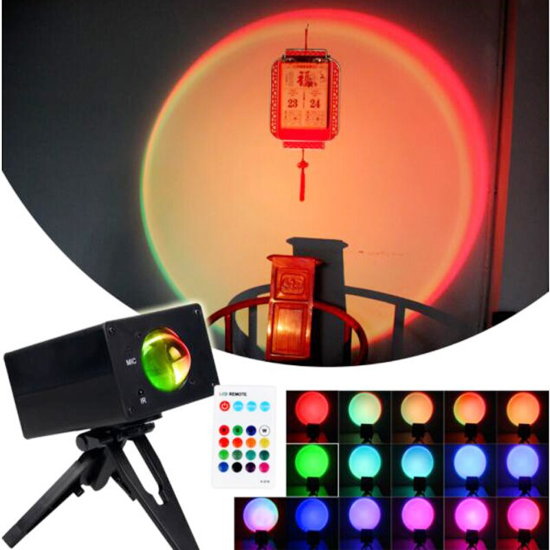 16 Colors Sunset Rainbow Projection Lamps LED Modern Night Light Shop Background Wall Decor Projector Gift Projector Lamp  - buy with discount