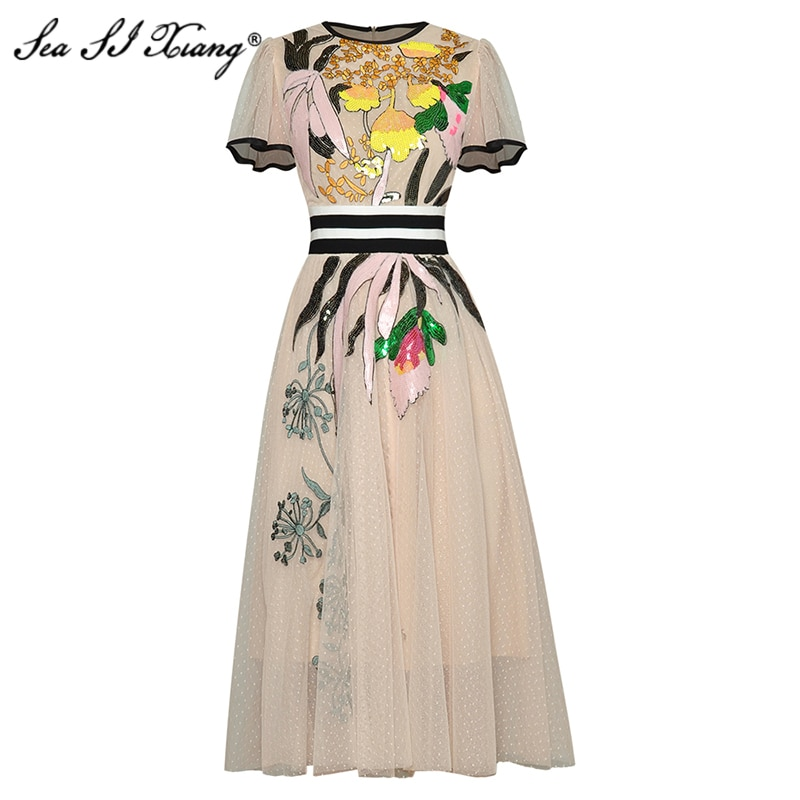 Seasixiang Fashion Designer Summer Mesh Dress Women Butterfly Sleeve Embroidery Sequined Bohemian Dresses