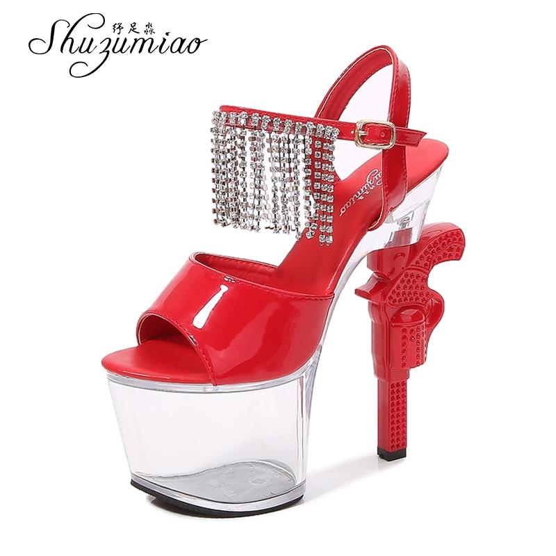 Shuzumiao Women Shoes Transparent Sandals 2020 Fashion Pistol Heel High Heels Female Stripper Shoes Bridal Wedding Dress Sandals