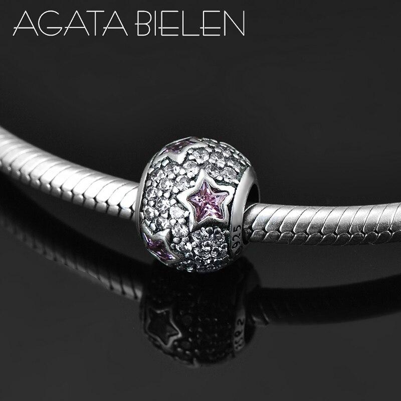 925 prata esterlina roxo cz brilhando estrelas redonda charme contas caber original europeu charme pulseira jóias fazendo