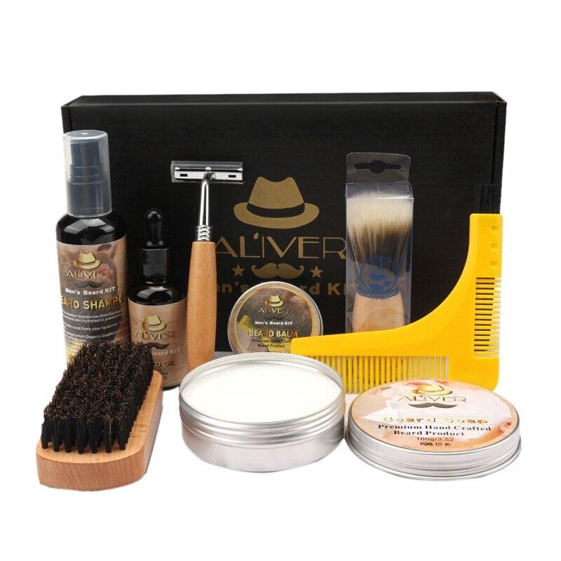 ALIVER 9 unids/lote barba kit barba herramienta barba cerda de peinar cepillo...