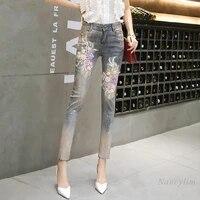 2021 spring summer new vintage pencil denim pants womens slim fashion embroidered flower cropped jeans plus size nancylim