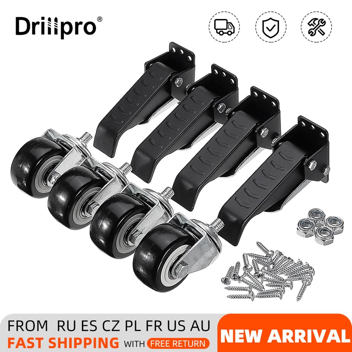 Drillpro 4 قطعة ترقية جديدة الثقيلة منضدة مجموعة العجلات 400lbs الأثاث المذرة 64 مللي متر النجارة الجدول مجموعة عجلات