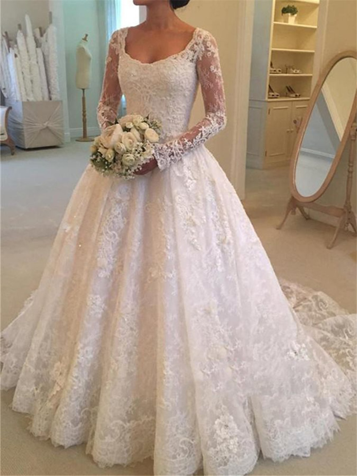 Custom Long Sleeves Lace Appliques Wedding Dresses with Beads Sash Sweep Train Tulle Wedding Bridal Gowns платье недорого