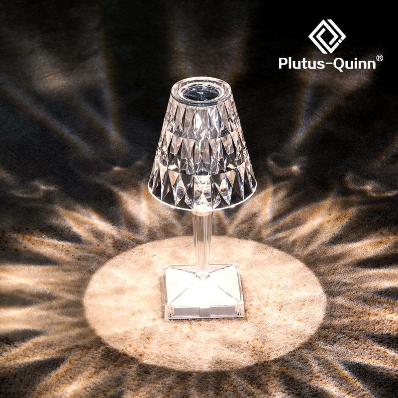 LED Diamond Crystal Projection Desk Lamp USB Charging Touch Sensor Restaurant Bar Decoration Table Lights Romantic Night Lamp