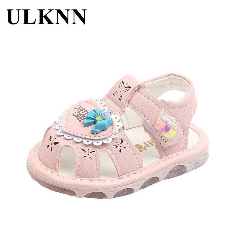 ULKNN Children's Summer Sandals Baby Flash Shoes Boys Soft Sole Newborn Baby Girl Toddler Cute Light Outdoor Shoes Non-slip Pink