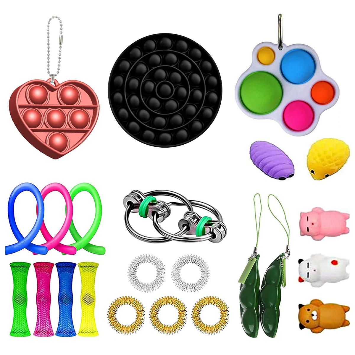 23 Pack Sensory Fidget Toys Stress Relief Toys For Adults Kids Simple Dimple Fidget Toy Extrusion Rebound Toy Soft Toy enlarge