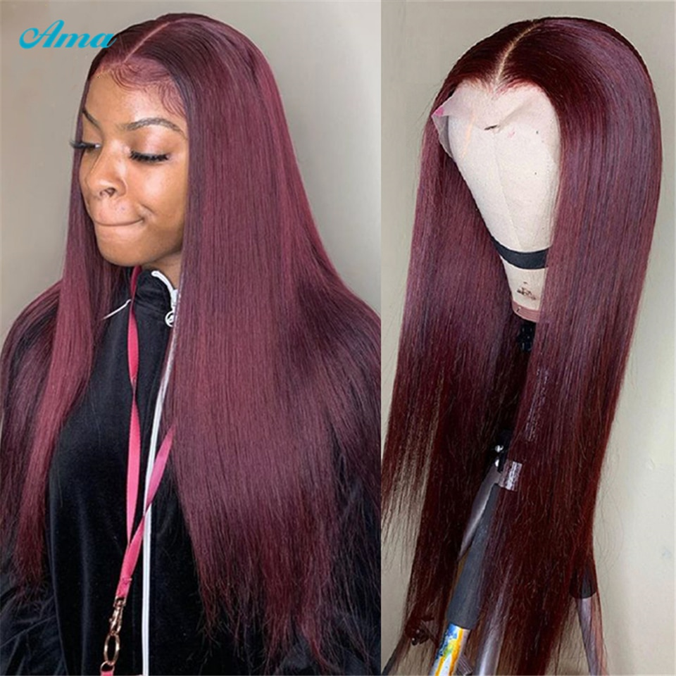 Burgundy Lace Front Wig Brazilian Straight 99J Lace Front Human Hair Wigs For Black Women Transparent 13x1 T Part Lace Wig Remy