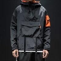 streetwear jacket men hooded patchwork coat windbreaker japanese style multi pocket spring autumn big size 5xl