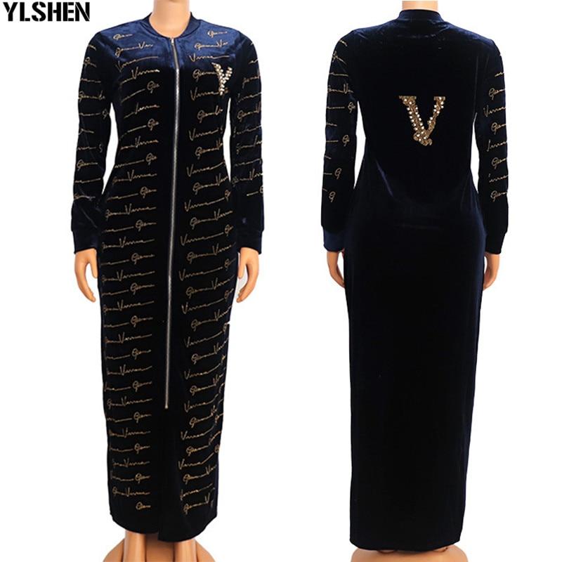فستان ماكسي طويل مخملي فساتين أفريقي للنساء ملابس حجم كبير Dashiki كامل الماس رداء فام Hiver 2021 رداء أفريقيا