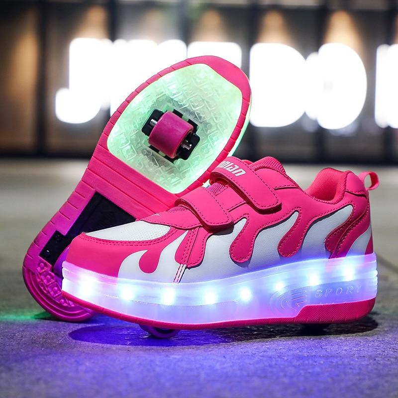 RISRICH niños LED usb de carga de rodillos zapatos que brillan iluminando zapatillas luminosas con ruedas niños rodillos patines zapatos para niños niñas