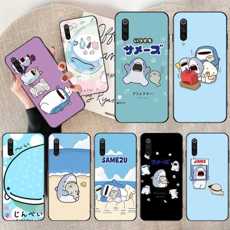 Funda de funda de teléfono de TPU blanda negra Kawaii Samezu Shark para Xiaomi Mi10 10Pro 10 lite Mi9 9SE 8SE pocofone F1 Mi8 Lite