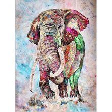 Elefanten Malerei Durch Anzahl Bunte Tier Auf Leinwand Mit Gerahmte DIY Kits Für Erwachsene Acryl Farbe Färbung Durch Anzahl Decor kunst