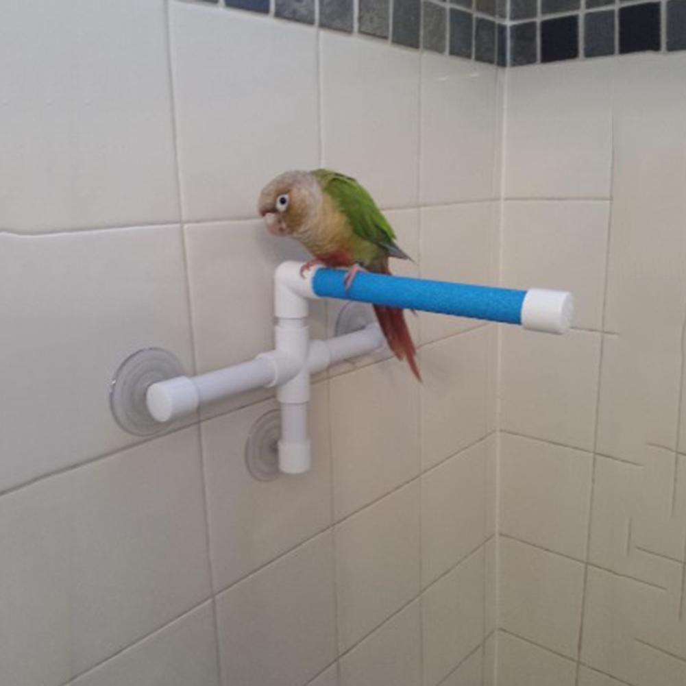 Durável parede otário pássaro papagaio banho lavagem suporte de pé ferramenta de brinquedo para animais estimação