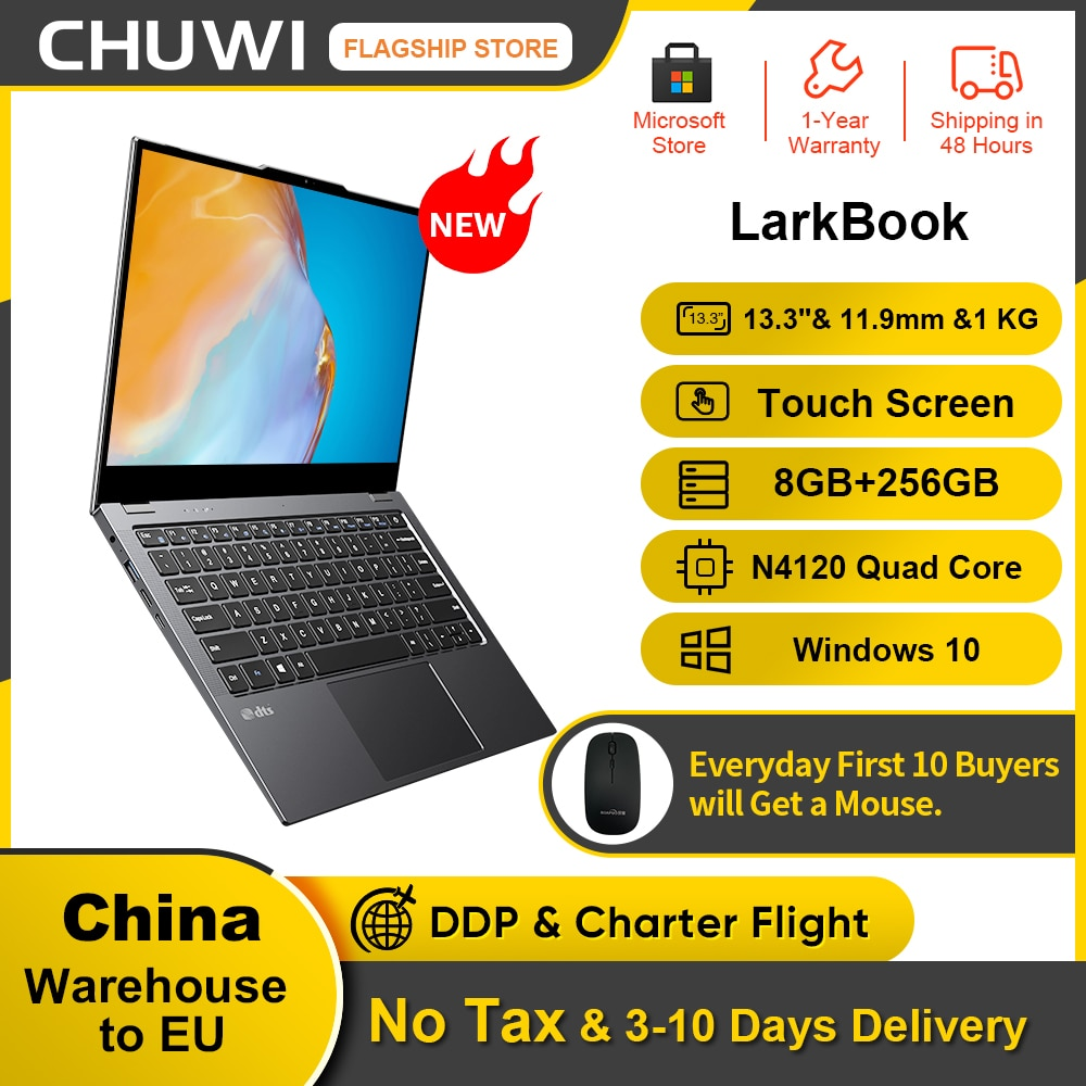 Promo New CHUWI LarkBook 13.3inch 1920*1080 IPS Touch Screen 8GB RAM 256GB SSD Laptop Intel N4120 Quad Core Windows 10 Computer PC