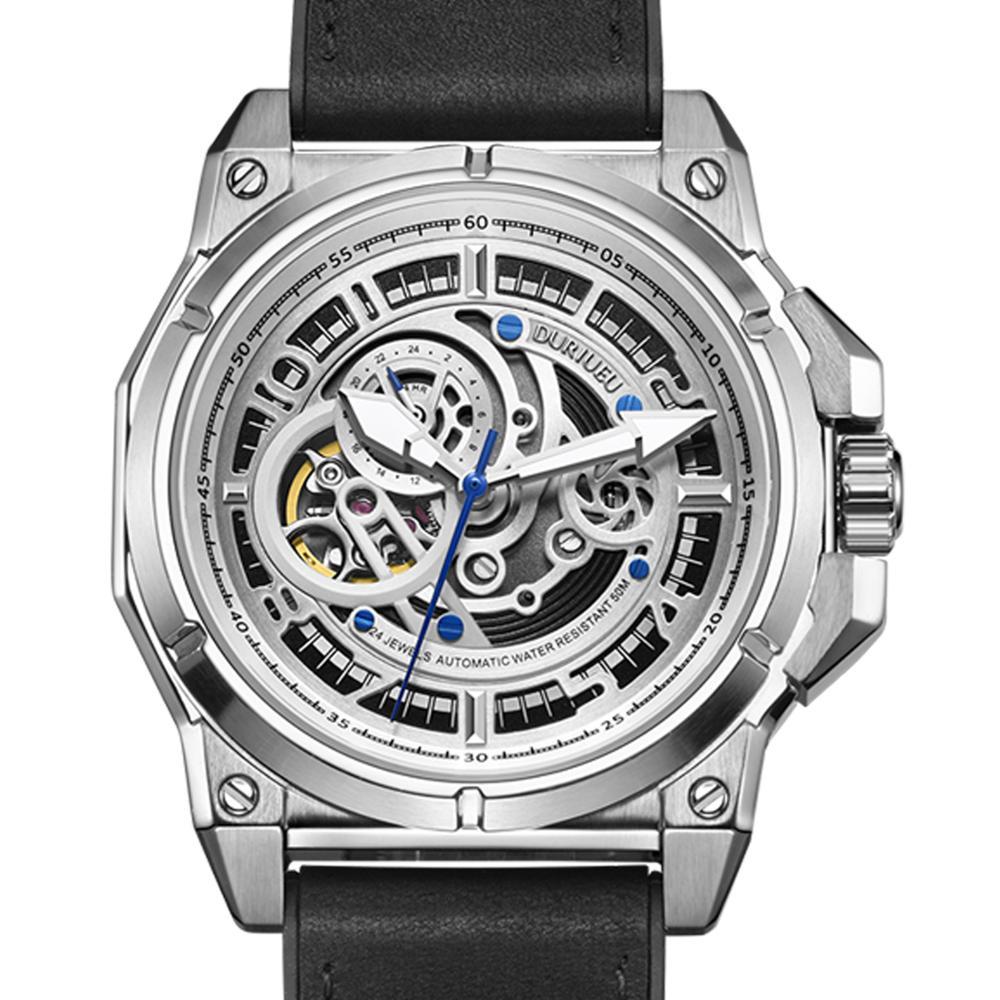 DURIUEU ألمانيا الذاتي الرياح الميكانيكية ساعة الرجال التلقائي ساحة كبيرة الأسود المطاط ساعات المعصم Reloj Hombre 2020 ساعة فاخرة