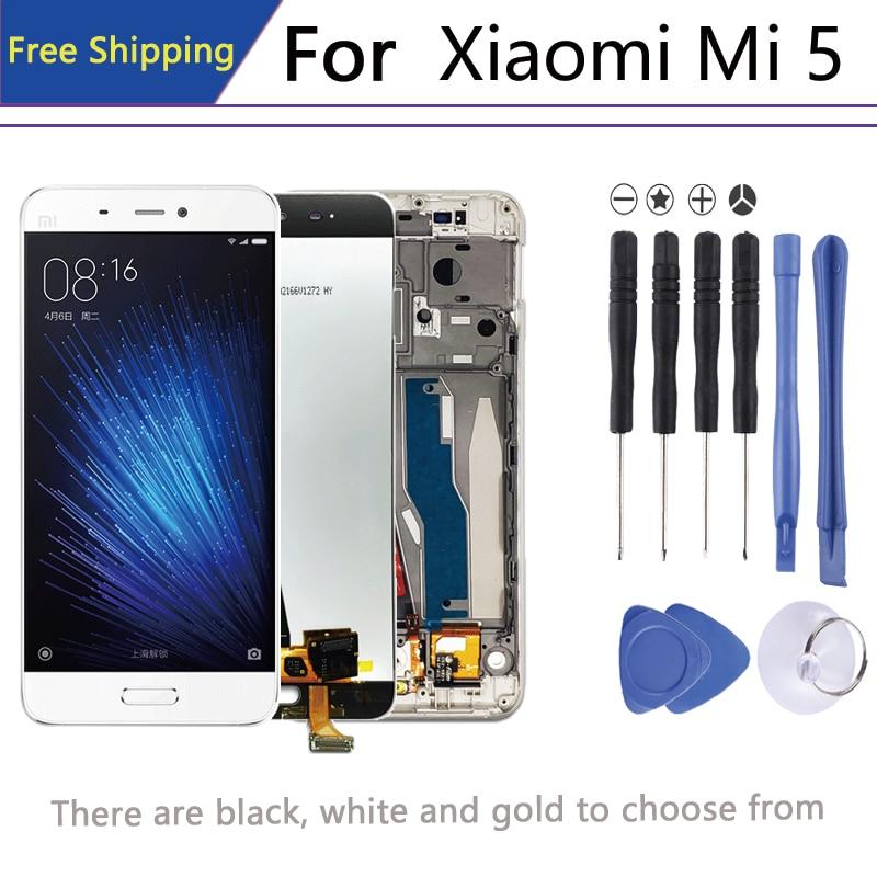 Original para 5,15 ″pantalla Xiaomi 5 en mi teléfono móvil lcd digitalizador Asamblea piezas de pantalla + marco mi 5 lcd 1920*1080