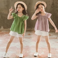 girls summer clothing set square collar embroidered lace tops shorts teenage girl outfits size 6 8 10 12 years fashion
