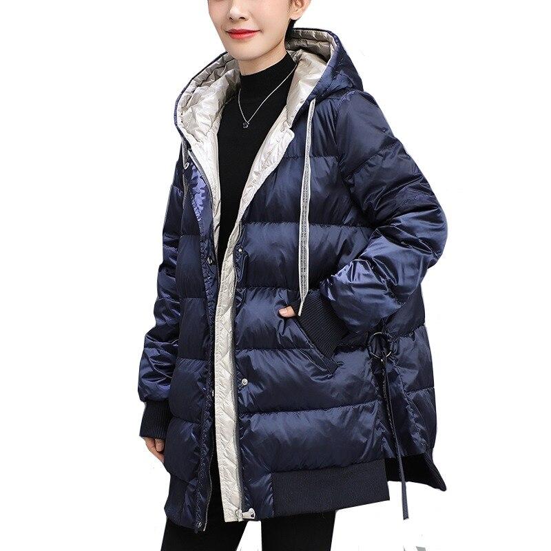 الشتاء مقنعين سترة نسائية ثقيلة 2021 شتاء جديد الكورية فضفاض الأبيض بطة أسفل معطف حجم كبير 4XL الدافئة سميكة الإناث ستر أبلى