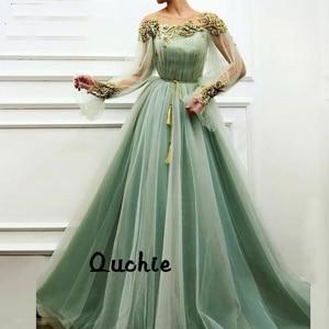 Mint Green Evening Dress Illusion Belt Special Occasion robe soiree Islamic Dubai Kaftan Saudi Arabic Prom