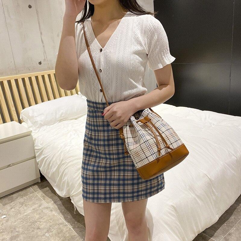 Fashion Drawstring Design Ladies Handbags New Mini Striped Bucket Bag Shoulder Messenger Bag Luxury Brand Women's Tote Bag Purse