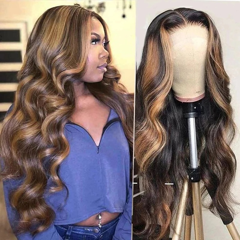 Highlight  Honey Blonde Body Wave 13X4 HD Lace Front Wig 4x4 Closure Wigs For Black Women Brazilian  Remy Human Hair 30 Inches